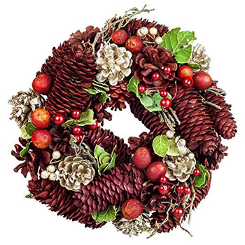 Image of Traditional Red & Gold Glitter Pine Cone, Leaf & Berry 23cm Christmas Wreath