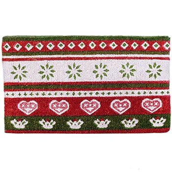 Image of Red, Green & White Scandi Print Christmas Coir Doormat Home Accessory