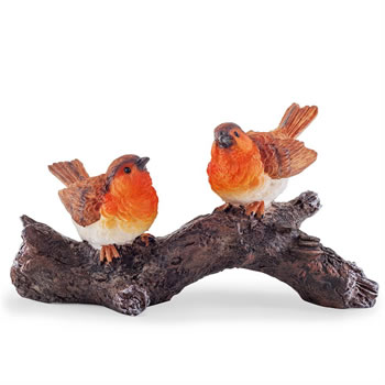 Image of Mr & Mrs Robin Polyresin Birds on a Branch Garden Ornament
