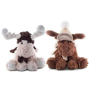 Image of Ruben or Reid the Large 30cm Cream or Brown Plush & Fluffy Sitting Christmas Reindeer (Set of Two)