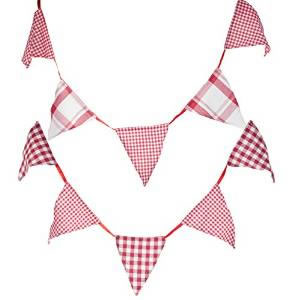 Image of Set of 2 Shabby 180cm Red & White Gingham Tartan Cotton Bunting Flags