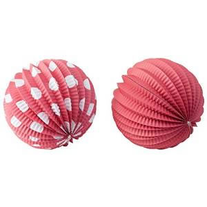 Image of Set of 6 Red & White 18cm Sphere Paper Lanterns