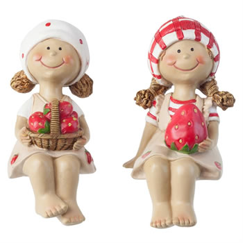 Image of Set of 2 Polyresin Edge-Sitting Strawberry Girl Figurine Garden Ornaments (13cm Sitting)