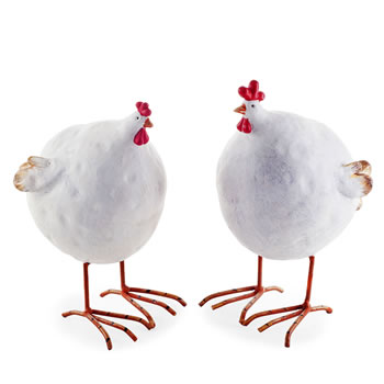 Image of Pair of Large Big Belly Rustic Resin Chicken Ornaments