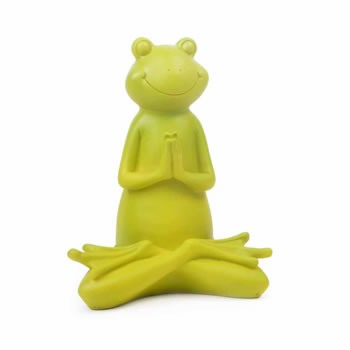 Extra image of Set of Three Green Resin Yoga Frog Ornaments for the Home or Garden