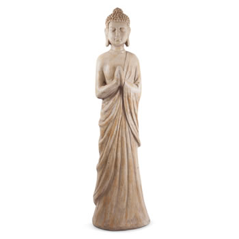 Image of Large Carved Wood Effect 100cm Standing Buddha Statue Ornament