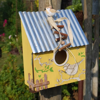 Extra image of Hanging Yellow Wooden Bird House with Corrugated Metal Roof
