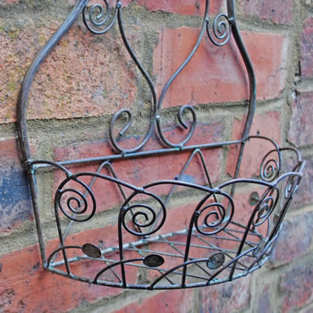 Extra image of Small Antique Finish Metal Wall Planter or Pot Holder for the Garden