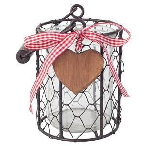 Image of 11cm Country Style Metal Wire & Glass Tealight Candle Holder