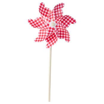 Image of 75cm Red & White Gingham Plastic Garden Windmill Ornament
