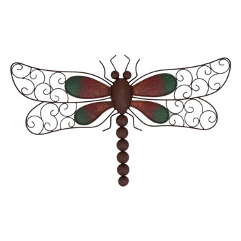 Image of Decorative Rusty Look Metal Dragonfly Garden Wall Art Feature