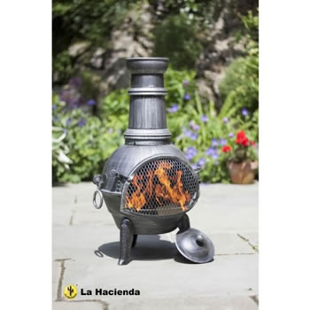 Image of La Hacienda Arriba Medium with Grill Steel Chimenea Medium Pewter effect