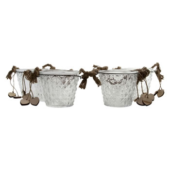 Image of Set of 6 Clear Glass Bucket Tealight Candle Holders