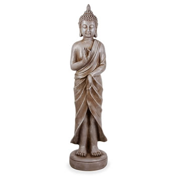 Image of Large Stone Look Effect Standing Resin Buddha Ornament