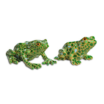 Image of Larry and Harry the Resin Mosaic Coloured Garden Frog Ornaments