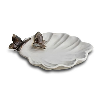 Image of White Resin Leaf Design Bird Bath/Feeder w. Bronze Effect Butterfly