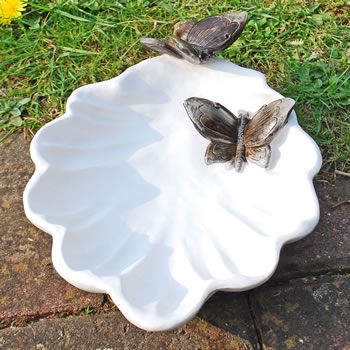 Extra image of White Resin Leaf Design Bird Bath/Feeder w. Bronze Effect Butterfly