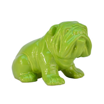 Image of Ceramic Bulldog Ornament for the Home - Dark Green