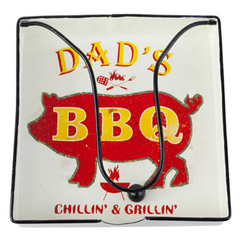 Image of Retro-inspired Metal Napkin Holder for Outdoor Dining & BBQs (Dad's BBQ)