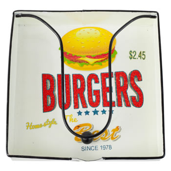 Image of Retro-inspired Metal Napkin Holder for Outdoor Dining & BBQs (Burgers)