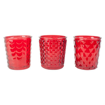Image of Set of 3 Large 15cm Red Patterned Glass Candle Holders