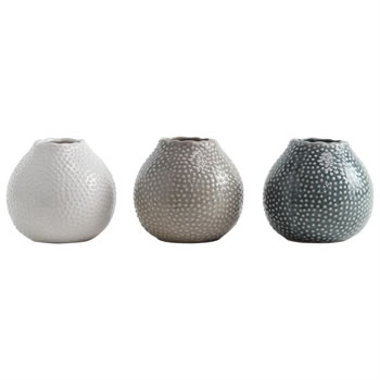 Image of Set of 3 Glazed Ceramic 11cm Sea Urchin Vases