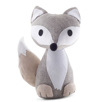 Image of Grey Fabric Fox Doorstop Home Accessory