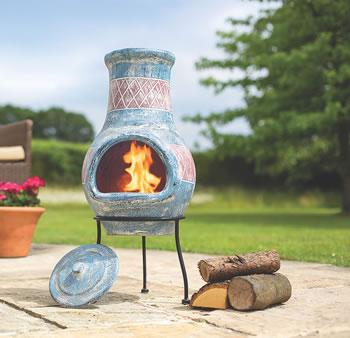Image of Oxford Barbecues Elsfield Blue With Red Detail Clay Chiminea Patio Heater