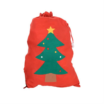Image of Red Felt Santa Sack Gift Bag with Christmas Tree Ideal To Hide Presents