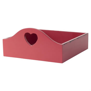 Image of Distressed Red Wooden Napkin Holder with Heart Cut-out