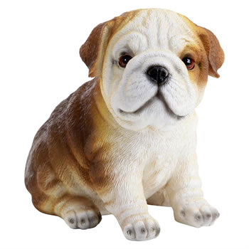 Image of Realistic Polyresin 16cm Sitting Bulldog Puppy Dog Ornament