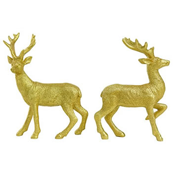 Image of Set of 2 Standing 14cm Gold Glitter Polyresin Stag / Reindeer Christmas Ornaments