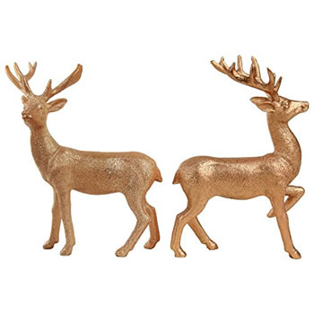 Image of 2 Standing 20cm Copper Glitter Polyresin Stag / Reindeer Christmas Ornaments