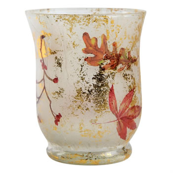 Image of 11cm Autumnal Pattern Glass Tea Light Candle Holder