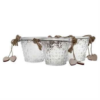 Image of Set of 3 Clear Glass Bucket Tealight Candle Holders