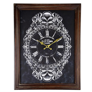 Image of Antique Effect 45cm Wooden Framed Wall Clock for the Home