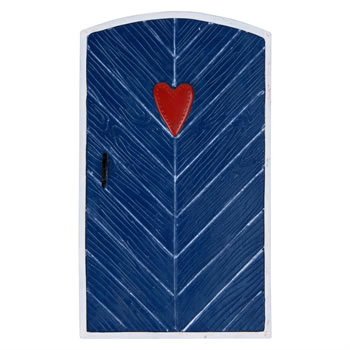 Image of Large Blue Fairy Door Ornament with Heart Design for Garden or Home