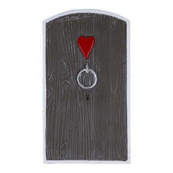 Image of Large Garden Fairy Door Ornament Grey Finish with Heart Design
