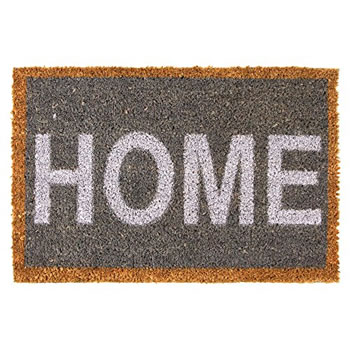Image of 60 x 40cm Grey & White 'HOME' Coir Doormat for Garden or Home
