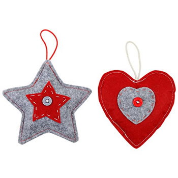 Image of Set of 2 Red & Grey Felt Star & Heart Christmas Tree Decorations