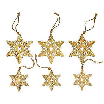 Image of 6pc Set of 8 & 11cm Rustic Wooden Snowflake Christmas Tree Decorations
