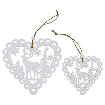 Image of Set of 4 White Wooden Cut-out Scandi Heart Christmas Tree Decorations