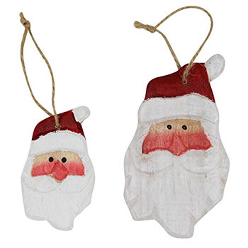 Image of Set of 6 Carved Wood Santa Head Christmas Tree Decorations