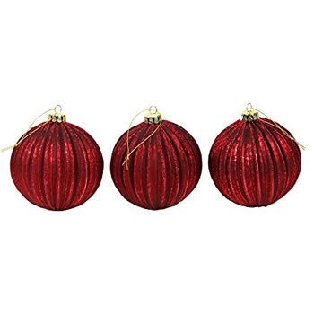 Image of Set of 3 Dark Red Pleated Mercury Glass 10cm Christmas Tree Baubles