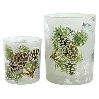 Image of Set of 2 Glittery Pine Cone Glass Christmas Tea Light Candle Holders