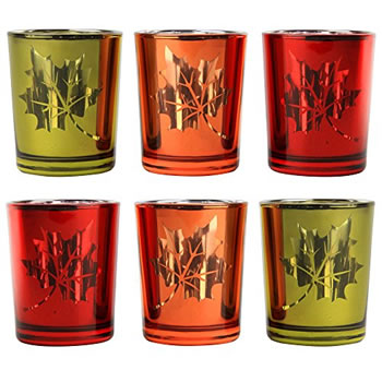Image of Set of 6 Autumnal Red, Orange & Yellow Glass Tea Light Candle Holders