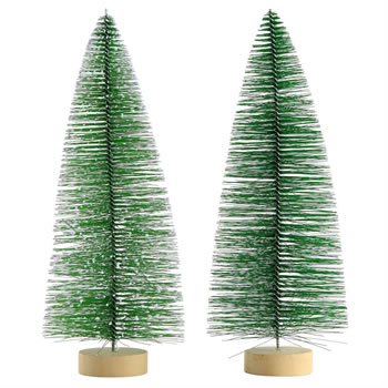 Image of 2 x 25cm Green Plastic Bottle Brush Bristle Christmas Tree Ornaments