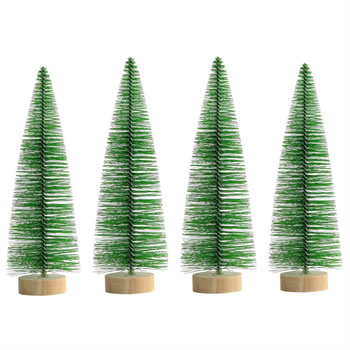 Image of 4 x 25cm Green Plastic Bottle Brush Bristle Christmas Tree Ornaments