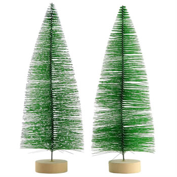 Image of 2 x 30cm Green Plastic Bottle Brush Bristle Christmas Tree Ornaments