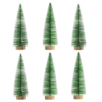 Image of 6 x 30cm Green Plastic Bottle Brush Bristle Christmas Tree Ornaments